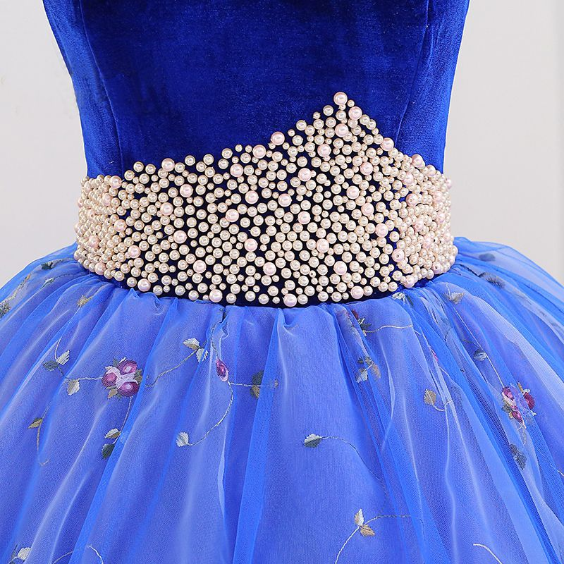 Elegant Royal Blue Quinceañera Prom Dresses 2018 Ball Gown Embroidered Pearl Suede Sweetheart Backless Sleeveless Floor-Length / Long Formal Dresses