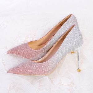 Sparkly Candy Pink 2018 Beading Glitter Sequins Leather Prom Evening Party Womens Shoes
