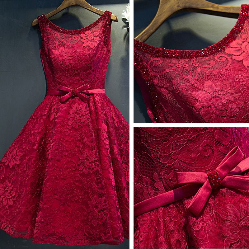 Chic / Beautiful Red Formal Dresses 2017 A-Line / Princess Lace Flower Beading Bow Scoop Neck Sleeveless Short Graduation Dresses
