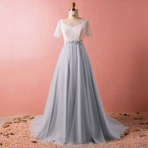 Classic Elegant Grey Plus Size Prom Dresses 2018 Lace-up Tulle V-Neck With Shawl Backless Evening Party Formal Dresses