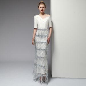 Sexy Ivory Evening Dresses  2020 Trumpet / Mermaid One-Shoulder Sequins Beading Tassel 1/2 Sleeves Backless Floor-Length / Long Formal Dresses