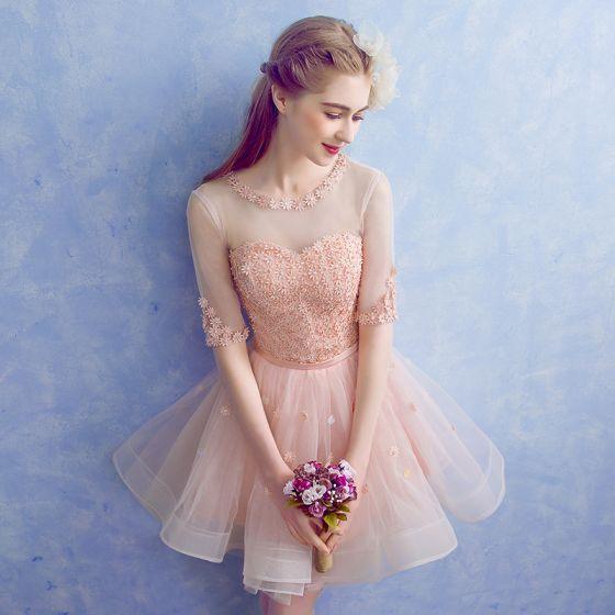 Piękne Różowy Perłowy Przezroczyste Strona Sukienka 2018 Princessa Wycięciem 1/2 Rękawy Aplikacje Z Koronki Kwiat Perła Rhinestone Szarfa Krótkie Wzburzyć Bez Pleców Sukienki Wizytowe
