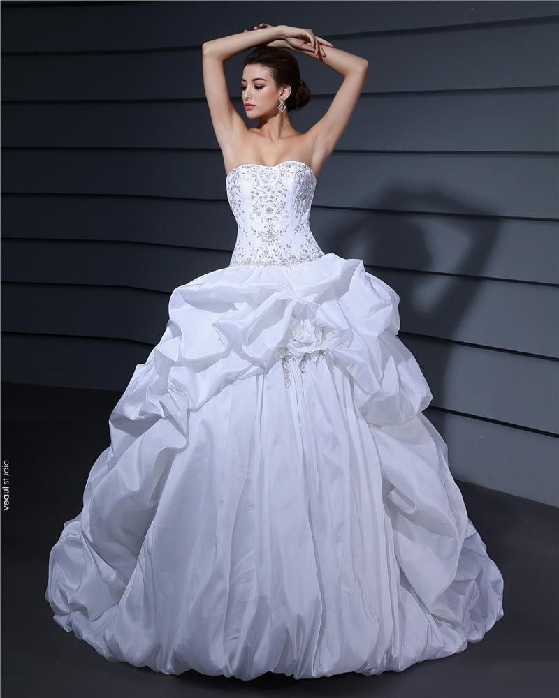 Sweetheart Ruffle Beading Floor Length Charmeuse Ball Gown Wedding Dress