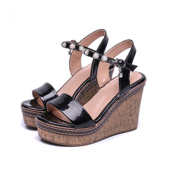 Mode Schwarz Strassenmode Perle Sandalen Damen 2021 Knöchelriemen 11 cm Keilabsatz Peeptoes Sandaletten Hochhackige