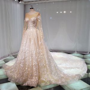 Edles Champagner Durchsichtige Brautkleider / Hochzeitskleider 2019 A Linie Rundhalsausschnitt Lange Ärmel Applikationen Spitze Kathedrale Schleppe Rüschen
