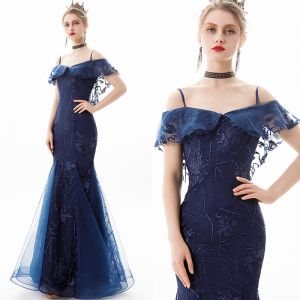 Charming Navy Blue Evening Dresses  2019 Trumpet / Mermaid Off-The-Shoulder Lace Flower Short Sleeve Backless Floor-Length / Long Formal Dresses