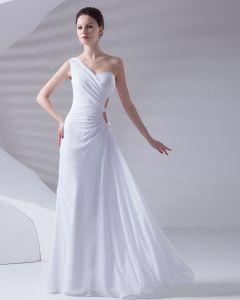 Une Epaule Longueur De Plancher Plisse Robe De Soirée En Mousseline De Soie Femme