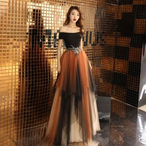 Colored Multi-Colors Evening Dresses  2019 A-Line / Princess Off-The-Shoulder Short Sleeve Appliques Lace Beading Floor-Length / Long Ruffle Backless Formal Dresses