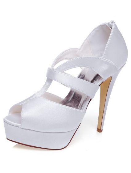 Cudowna Eleganckie Białe Sandały Ślubne 13 cm Szpilki Z Platformie Peep EO28