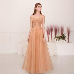 Illusion Champagner Gold Durchsichtige Abendkleider 2019 A Linie Eckiger Ausschnitt Ärmellos Perlenstickerei Lange Rüschen Rückenfreies Festliche Kleider