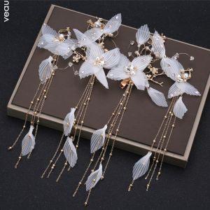 Klassisk Elegant Hvide Øreringe Hårpynt 2019 Beading Perle Rhinestone Tassel Metal Bryllup Accessories