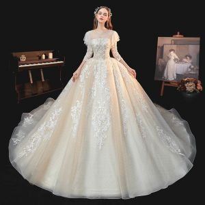 Chic / Beautiful Champagne Bridal Wedding Dresses 2020 Ball Gown See-through Scoop Neck 3/4 Sleeve Backless Appliques Lace Rhinestone Beading Glitter Tulle Chapel Train Ruffle