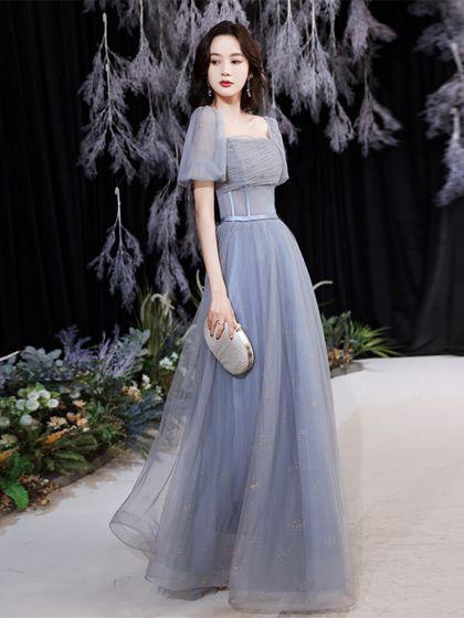 Modest / Simple Sky Blue Prom Dresses 2021 A-Line / Princess Square Neckline Short Sleeve Backless Sash Floor-Length / Long Prom Formal Dresses