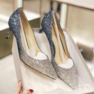 Sparkly Gradient-Color Evening Party Pumps 2019 Leather Sequins 8 cm Stiletto Heels Pointed Toe Pumps