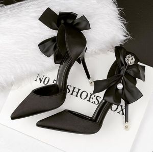 Modern / Fashion Black Womens Shoes 2018 Bow Pearl 10 cm Stiletto Heels Pointed Toe High Heels