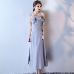 Chic / Beautiful Sky Blue Evening Dresses  2017 A-Line / Princess Charmeuse U-Neck Backless Beading Homecoming Evening Party Formal Dresses