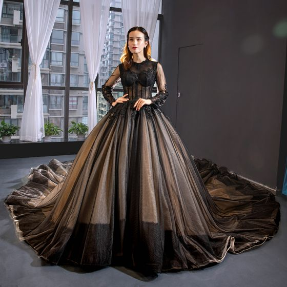 High-end Black See-through Red Carpet Evening Dresses  2020 A-Line / Princess Scoop Neck Long Sleeve Appliques Lace Cathedral Train Ruffle Formal Dresses