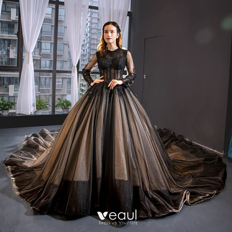 High End Black See Through Red Carpet Evening Dresses 2020 A Line Princess Scoop Neck Long Sleeve Liques Lace Cathedral Train Ruffle Formal