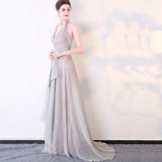 Neckholder kleid silber