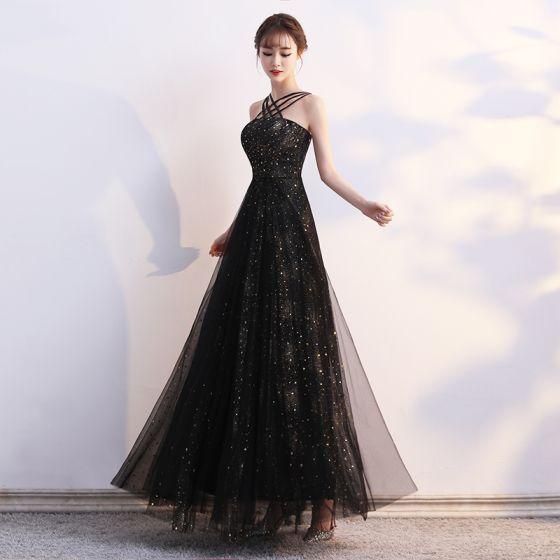 Modern / Fashion Black Evening Dresses  2019 A-Line / Princess Spaghetti Straps Star Sequins Sleeveless Backless Floor-Length / Long Formal Dresses