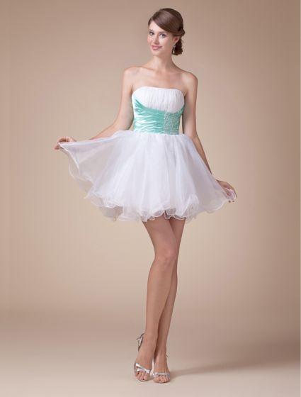 Beautiful Strapless Zipper Beading Sash Ruffles Short Cocktail Dress Party Dress