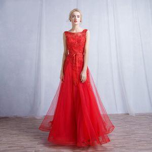 Schöne Rot Abendkleider 2017 A Linie Mit Spitze Blumen Eckiger Ausschnitt Ärmellos Gekreuzte Träger Lange Abend