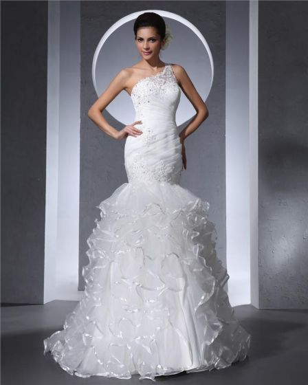 One Shoulder Floor Length Pleated Organza Beading Ruffles Mermaid Wedding Dress