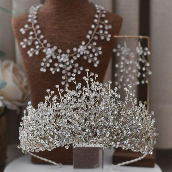Charmant Zilveren Bruidssieraden 2021 Legering Rhinestone Oorbellen Nek Ketting Tiara Huwelijk Accessoires