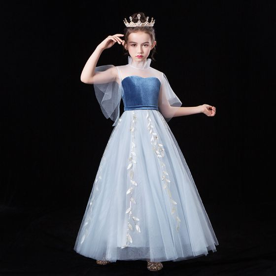 Chic / Beautiful Sky Blue See-through Flower Girl Dresses 2020 A-Line / Princess High Neck Short Sleeve Leaf Appliques Lace Floor-Length / Long Ruffle