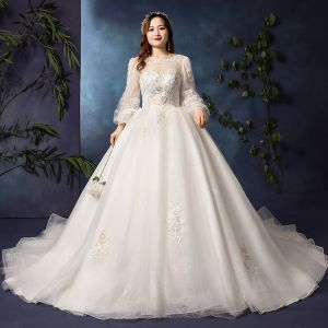Modern / Fashion White Plus Size Wedding Dresses 2019 A-Line / Princess Long Sleeve U-Neck Appliques Backless Beading Sequins Chapel Train