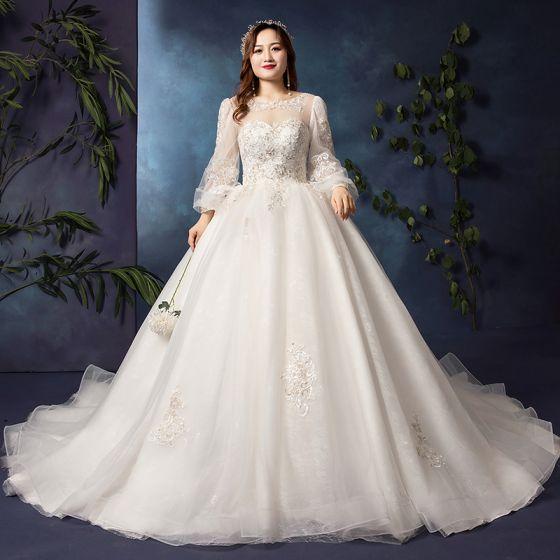 Modern / Fashion White Plus Size Wedding Dresses 2019 A-Line / Princess Long Sleeve U-Neck Appliques Backless Beading Sequins Chapel Train