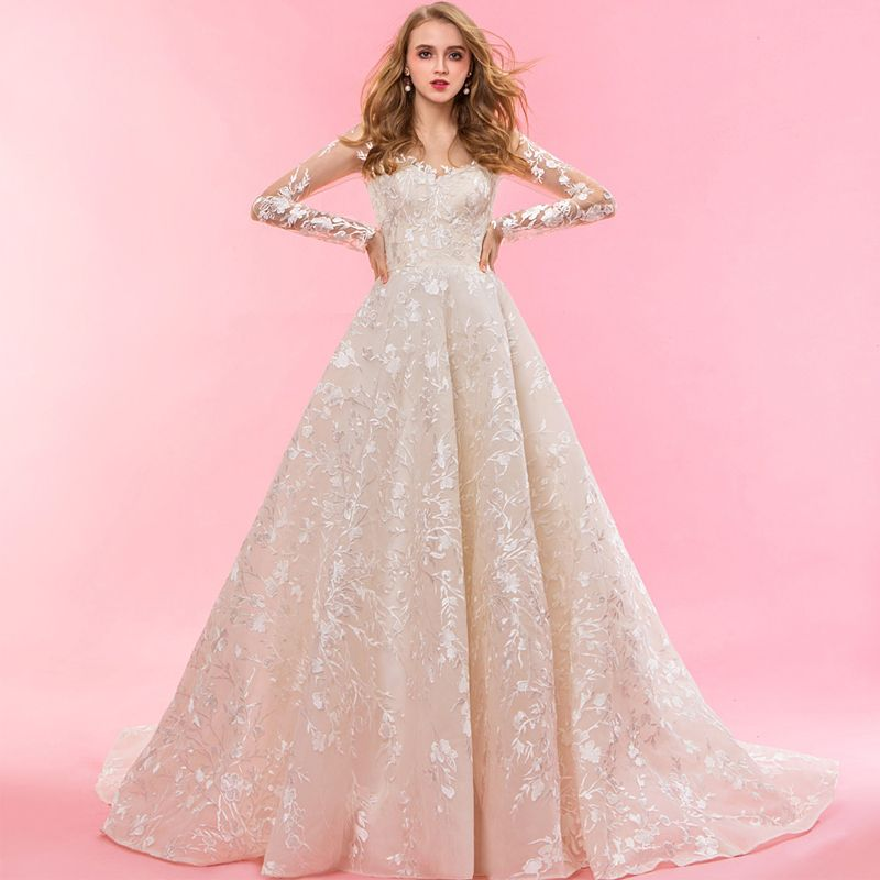 Luxury / Gorgeous Champagne Chapel Train Wedding 2018 Long Sleeve A-Line / Princess Tulle U-Neck Lace-up Appliques Backless Embroidered Wedding Dresses
