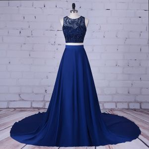 2 Piece Navy Blue Prom Dresses 2017 A-Line / Princess Scoop Neck Sleeveless Beading Satin Formal Dresses Court Train