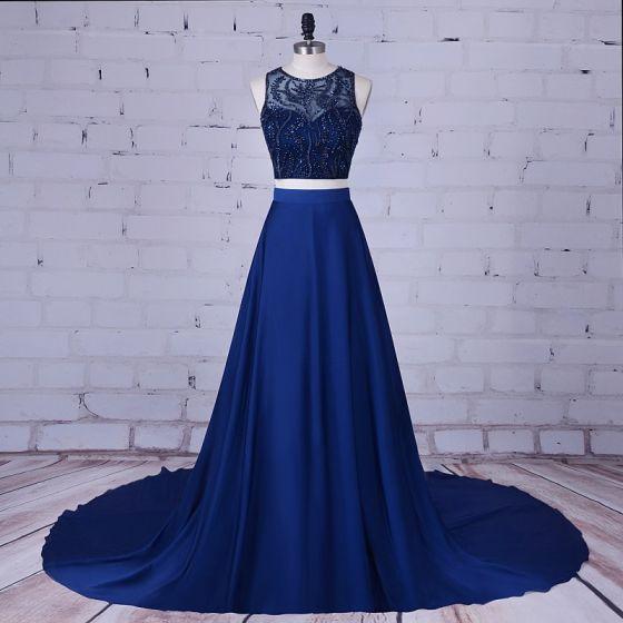 2 Piece Navy Blue Prom Dresses 2017 A-Line / Princess Scoop Neck Sleeveless Beading Satin Formal Dresses Court Train
