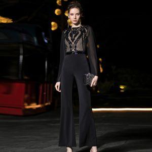 Best Black Chiffon Jumpsuit 2019 Square Neckline Long Sleeve Sash Sequins Ankle Length Ruffle Evening Dresses