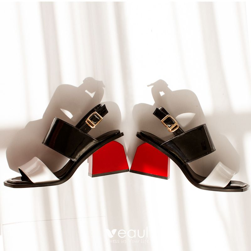 Chic / Beautiful White Womens Shoes 2017 Leather Mid Heels Thick Heels Open / Peep Toe Handmade  Sandals
