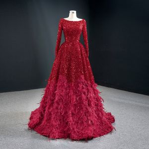 Sparkly Red Sequins Red Carpet Evening Dresses  2020 A-Line / Princess Scoop Neck Long Sleeve Feather Sweep Train Ruffle Backless Formal Dresses