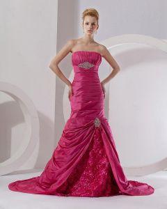 Mermaid Sweetheart Sleeveless Floor Length Taffeta Ruffles Paillette Prom Dress