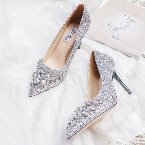 Glitzernden Silber Brautschuhe 2019 Leder Perlenstickerei Kristall Strass Pailletten 10 cm Stilettos Runde Zeh Hochzeit Pumps