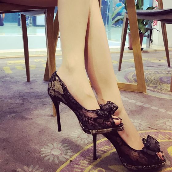 Chic / Beautiful 2017 8 cm / 3 inch Black Casual Cocktail Party Evening Party Outdoor / Garden Summer Lace High Heels Stiletto Heels Pumps Open / Peep Toe