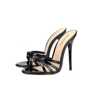 Enkel Svart Casual Sandaler Dame 2020 13 cm Stiletthæler Peep Toe Sandaler