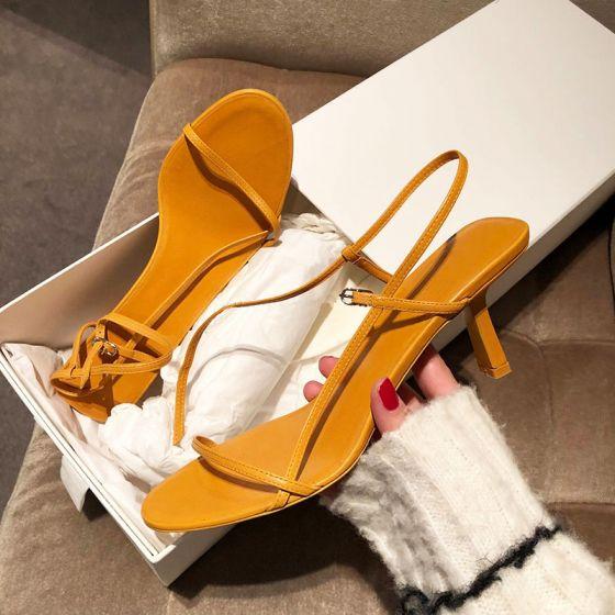 Moderne / Mode Simple Jaune Désinvolte Sandales Femme 2019 Bride Cheville 6 cm Talons Aiguilles Peep Toes / Bout Ouvert Sandales