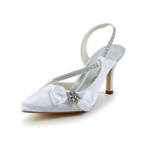 Piękne Białe Buty Ślubne Satynowe Sandały Rhinestone Szpilki Pantofle Z Kokardą
