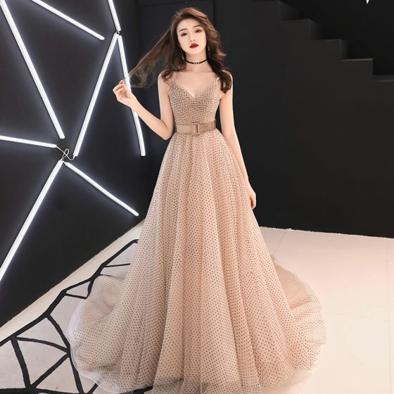 Classy Champagne Evening Dresses  2019 A-Line / Princess V-Neck Sleeveless Sash Spotted Tulle Sweep Train Ruffle Backless Formal Dresses