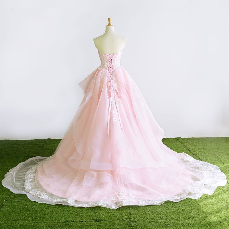 Lovely A-Line / Princess Sweetheart Sleeveless Blushing Pink Organza Wedding Dresses 2017 Appliques Lace Ruffle Court Train