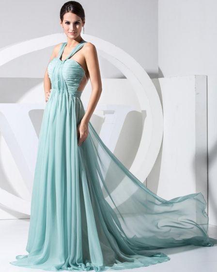 Chiffon Silk Pleated Halter Neck Floor Length Celebrity Dress