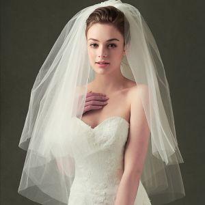 Klassisch 2017 1 m Weiß Applikationen Tülle Spitze Brautschleier