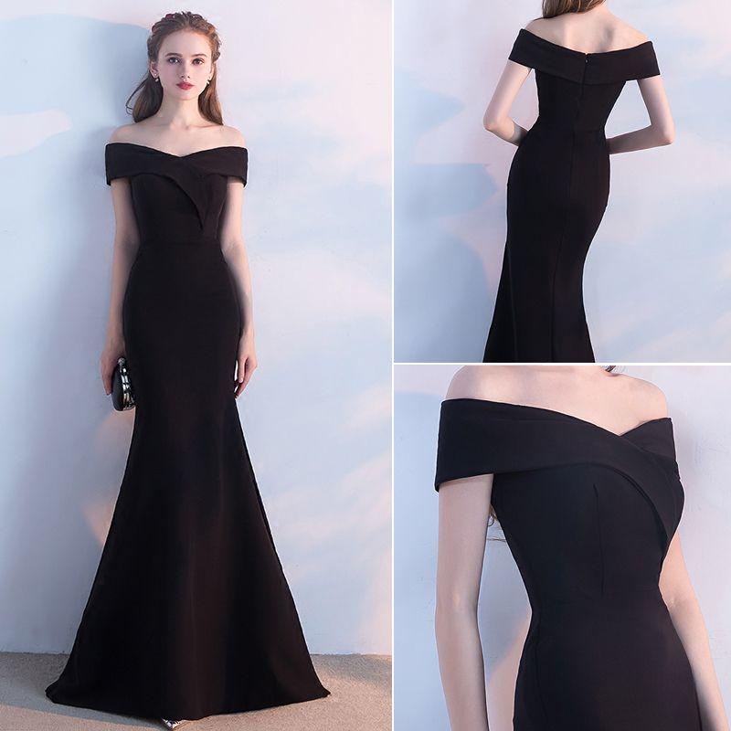 Elegant Classic 2017 Zipper Up Black Satin Spaghetti Straps Church Cocktail Party Evening Party Summer Trumpet / Mermaid Evening Dresses