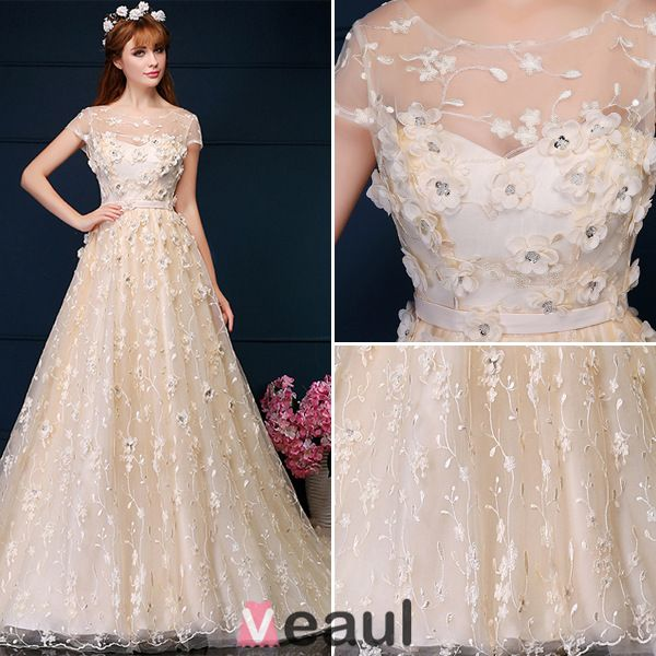 Beautiful Ball Gown Applique Flowers Lace Wedding Dress Wtih Sequins
