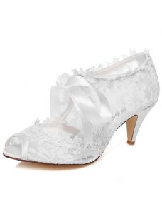 Belles Chaussures De Mariée Dentelle Stilettos Blanc Bottines De Mariée Bout Ouvert